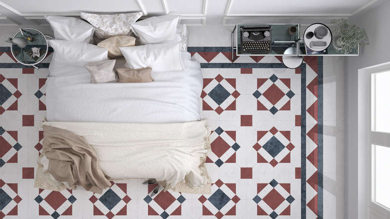 Create a Feature Floor by Mixing Olympia Tiles in Your Kitchen or Bathroom